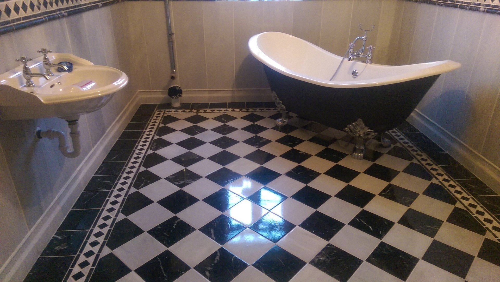 checkered bathroom